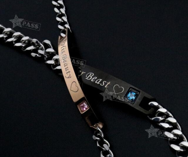 e66fd23879da7 2x His Beauty&Her Beast Stainless Steel Couple Lover Bracelet Valentine Gift