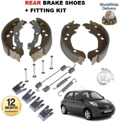 FOR NISSAN MICRA 1.0 1.2 1.4 1.5 1.6 2002-2010 REAR BRAKE SHOES /& FITTING KIT