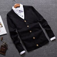 Mens Thin Slim Fit Cardigan Jumper Sweater Plain Preppy V Neck Button Casual New