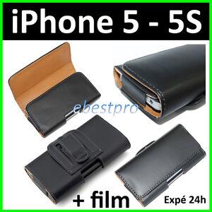 Accessoire-Housse-Coque-Etui-Pochette-PU-Cuir-Clip-Ceinture-iPhone-5-5S-6-6S-7