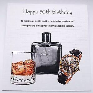 personalised handmade birthday card male husband fiancé 50th 40th