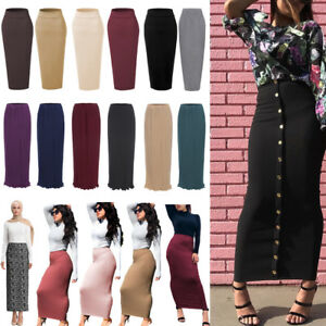 Muslim-Thick-Skirt-Bodycon-Slim-High-Waist-Stretch-Long-Maxi-Women-Pencil-Skirts