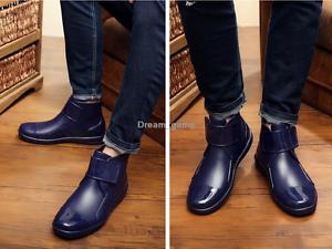 Details about Men Rain Shoes Rain boots Casual Style Galoshes Black \u0026 Blue  Fashion Shoes