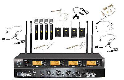 Wireless Handheld Headset Lavalier Music Karaoke Microphone Mic System