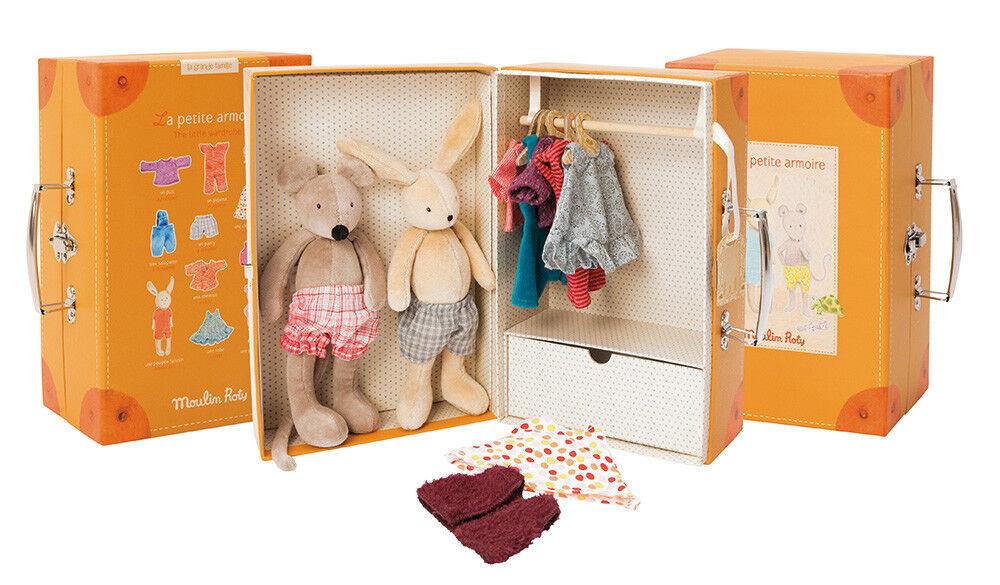 Moulin Roty Armadio + pupazzi + vestiti 632401 wardrobe suitcase armoire