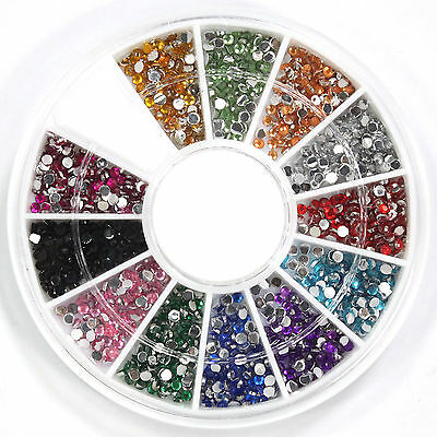 1800 Pcs 1.5mm 12 Colors Round Rhinestones for Nail Art Tips Decoration Wheel