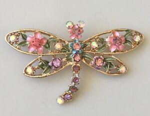 Adorable-vintage-style-Dragonfly-flower-brooch-enamel-on-metal