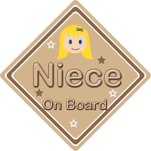 Non personnalisé enfant//bébé à bord voiture signe ~ nièce à bord ~ blonde