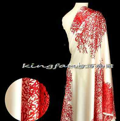 100% pure natural mulberry silk crepe satin plain red coral fabric 1m S141