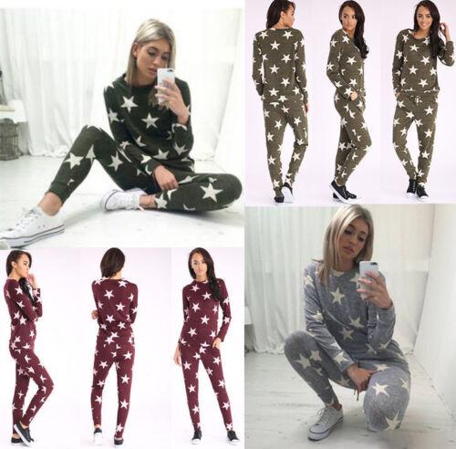 Ladies Tracksuit Star Print Lounge-wear Set Sweatshirt Top Joggers pants