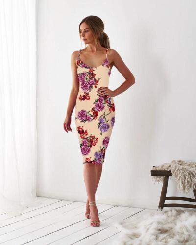 Damen Geblümt Sommer Kleider Partykleid Abendkleid Ärmellos Bodycon Midikleid DE