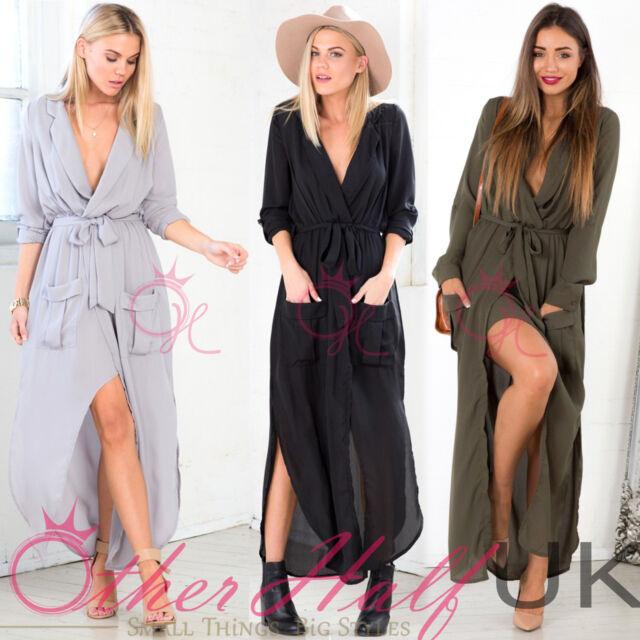UK WOMENS LADIES SPLIT MAXI LONG DRESS SHIRT EVENING PARTY WRAP TUNIC SIZE 8-16