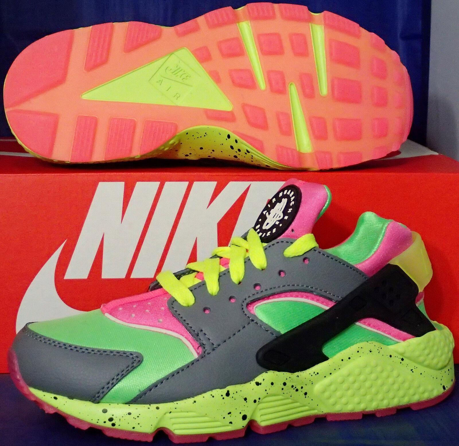 femmes Nike Air Huarache Run iD Cool Gris Volt Voltage Green SZ 6.5 #777331-994