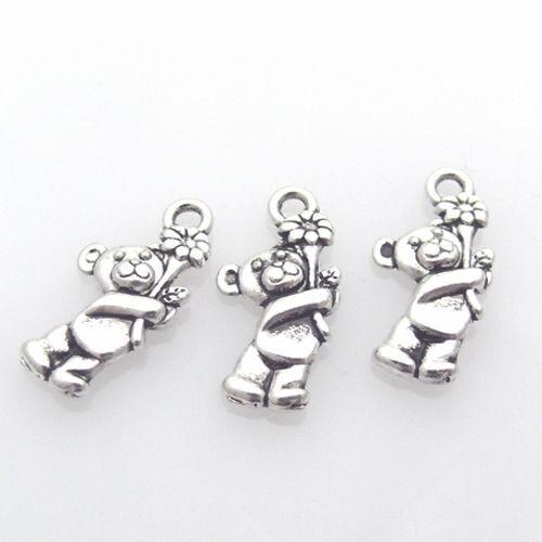 3 metal remolque osos de plata de metal remolque 1,9cm-930