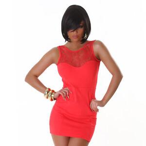 Vestito-corto-abito-donna-miniabito-elasticizzato-nuovo-rete-ricamo-pizzo-sexy