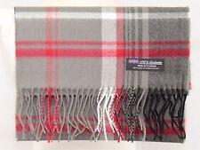 100% CASHMERE Scarf Gray Black Check Plaid Warm Graham SCOTLAND Wool Men JSF
