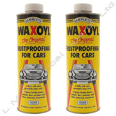 2 x 1 Litre Clear Hammerite Schutz Waxoyl Car Rust Proofing Seal Wax Oil 5092838