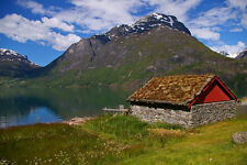MOUNTAIN CABIN LANDSCAPE NORWAY POSTER PRINT 24x36 HI RES