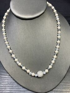 Ladies Vintage Quality Silver Crystal Beaded Rhinestone  Pearl Necklace 18""