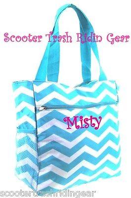 Personalized Aqua White Chevron ZigZag Tote bag book diaper teacher nurse NEW