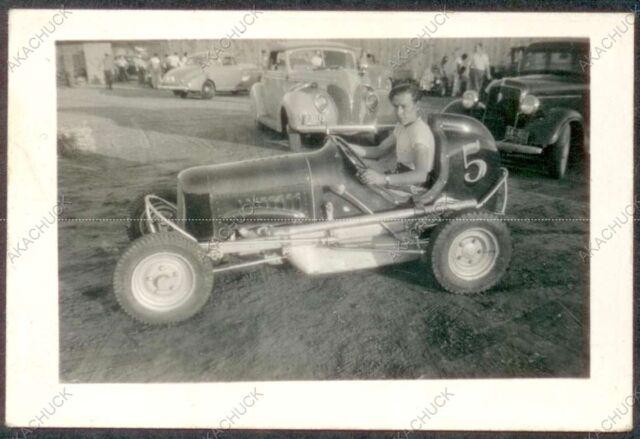 Rare Orig Photo BOBBY McKIM #5 Racer MIDGET RACE CAR DRIVER c1939 Kansas