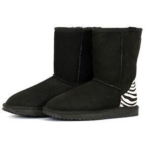 Classic-Short-Premium-Sheepskin-UGG-Boots-Black-with-Zebra-Print-CLEARANCE