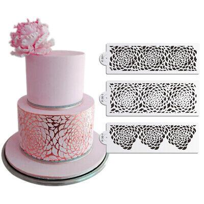 3 stücke Rose Dekorieren Schablone für Hochzeitstorte Airbrush Schablone RSPF