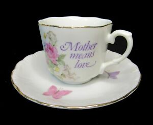 Napcoware Imported Japan #775, Mother Means Love Tea Cup, Rose and Butterfly
