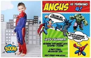 Image Is Loading Personalised Superheroes Batman Superman Spiderman Hulk Birthday Invitations