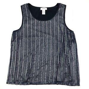 Carmen marc valvo sleeveless ruched metallic top navy blue silver size large