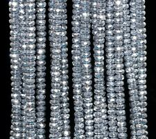 3MM SILVER HEMATITE GEMSTONE SILVER FACETED RONDELLE 3X2MM LOOSE BEADS 15.5""