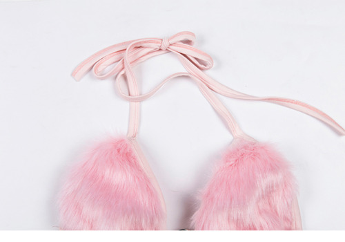 Faux Fur Bra Halter Neck Bralet Lace Up Fluffy Bikini Top Slim Fit Rave Club YM0