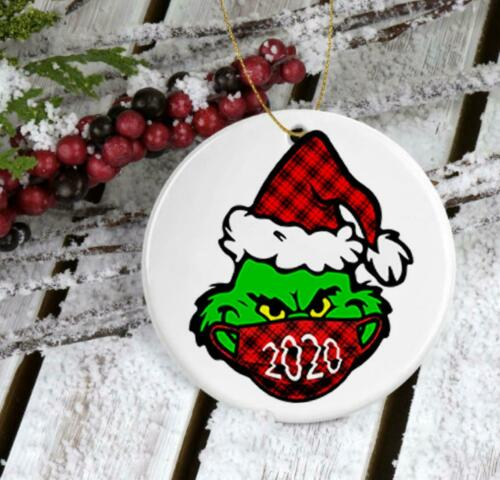 Grinch 2020 Face Mask Christmas Ornament,Personalize Grinch,Grinch Ornament
