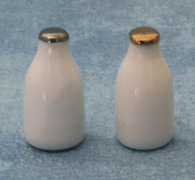 Two Milk Bottles Food Drink Miniatures 1:12 Scale Dolls House Miniature