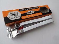 *NOS Vintage 1970s REG Italy white Italian leather pedal toe straps*