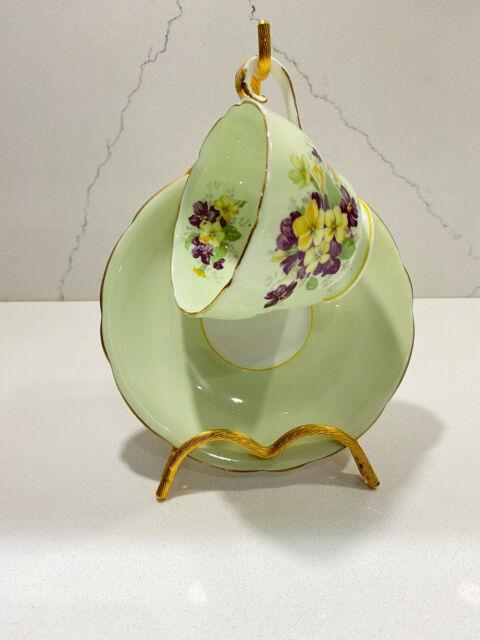 Vintage Aynsley Tea Cup & Saucer Set Green Floral English Fine Bone China