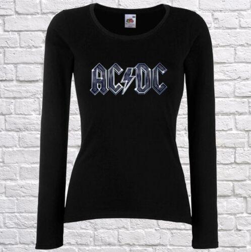 DAMEN//WOMEN T-SHIRT AC//DC AC DC 2 ROCK FUN TEE WHITE//BLACK LONGSLEEVE//LANGARM
