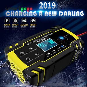 Motorcycle Car Pulse Repair Charger LCD Display Touch Screen Acid Battery BSG