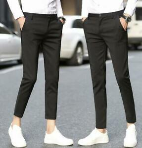 Mens-Business-Formal-Dress-Suit-Trousers-Slim-Fit-Cropped-Pants-Fashion-HOT