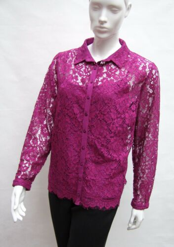 MARKS /& SPENCER PER UNA FUCHSIA FLORAL LACE LONG SLEEVED BLOUSE SHIRT Size 20