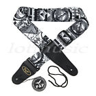 Guitar Strap For Electric Acoustic Bass Leather Adjustable Black Soft Thick