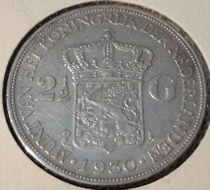 Netherlands-2-1-2-Gulden-1930-Y-47-Queen-Wilhelmina-silver-crown