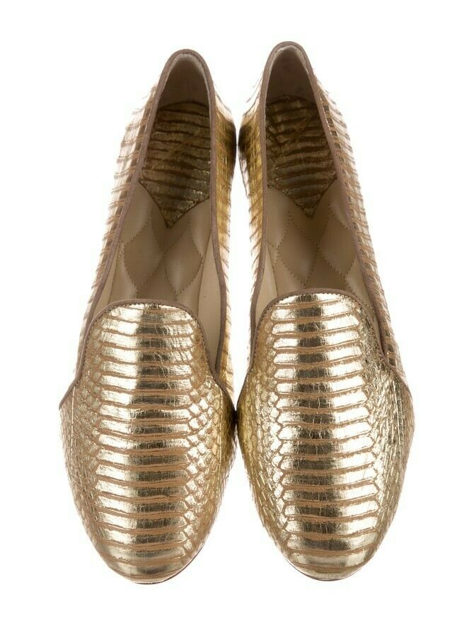 Brian atwood gold fats brand new size 7 womens shoes loafers designer leather 7