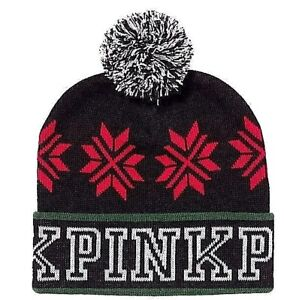 1ff18495289 Details about PINK Nation Retired Victoria s Secret Black Green w POM  Beanie KNIT HAT New