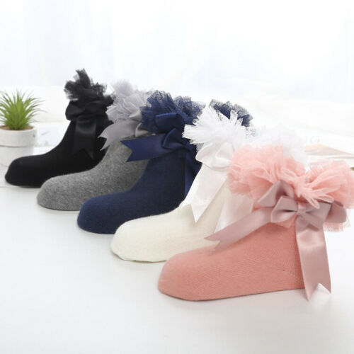 Socks Ruffle Girls Ankle Baby Sock Frilly Kids Trim Princess Bowknot Infant Lace