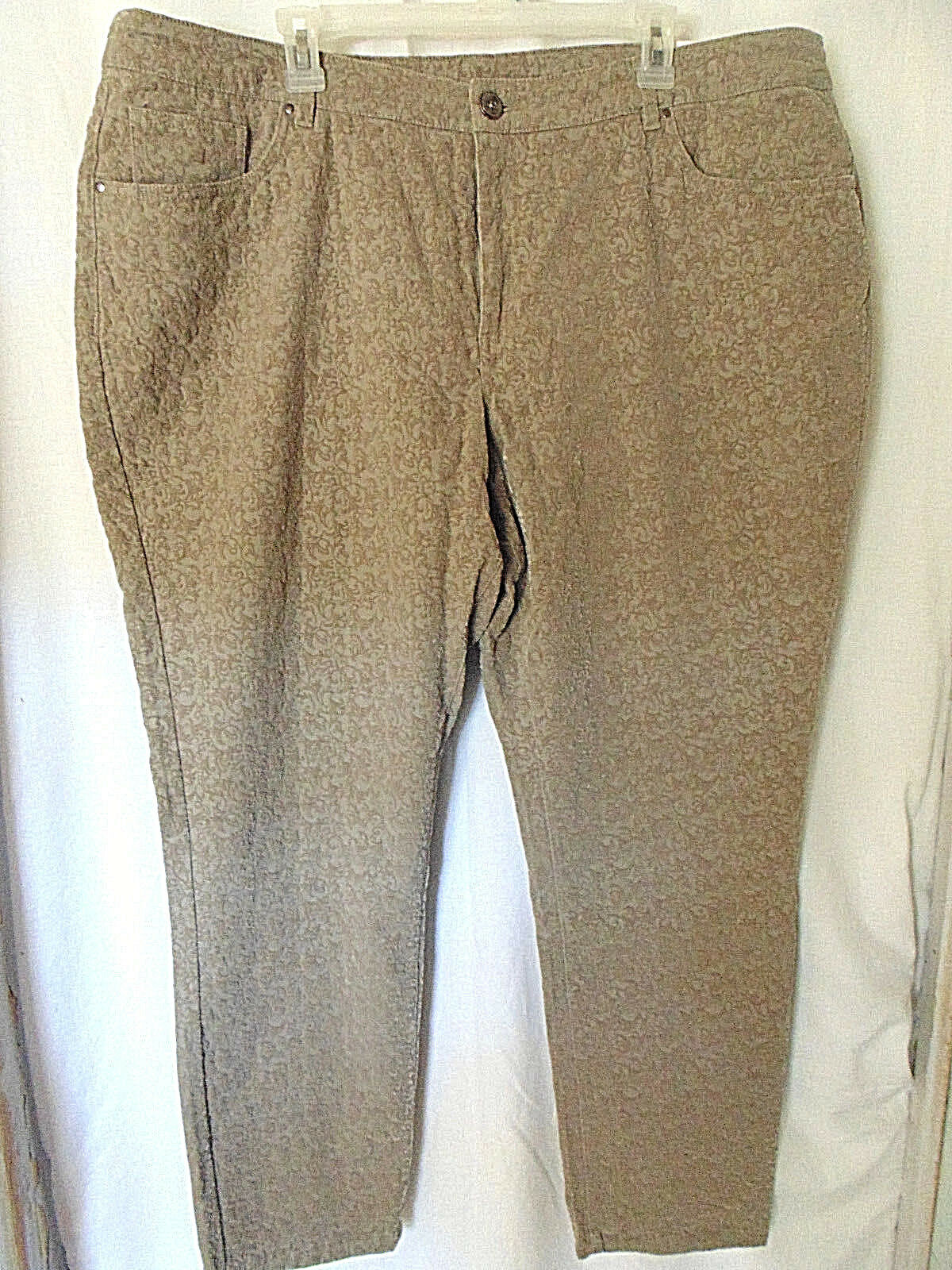 CJ Banks Womens Pants Size 22W Tan Raised Pattern Tapered Leg Causal Office