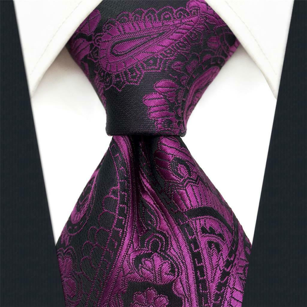 S&W SHLAX&WING Purple Ties for Men Silk Neckties Plum Paisley for Wedding Party