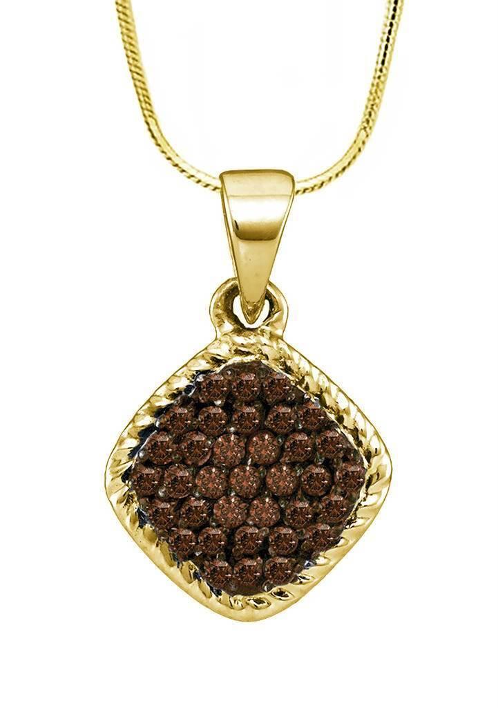 Chocolate Brown Diamond Pendant 10K Yellow gold Cluster Diamond Pendant .25ct