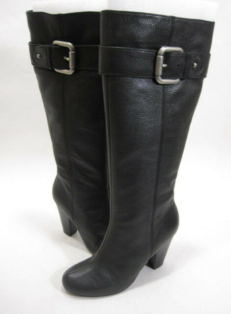 FOSSIL WOMEN'S REBECCA KNEE-HIGH HIGH-HEEL BOOT BLACK LEATHER/RUBBER SIZE 5.5 M