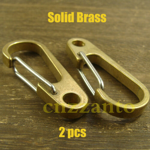 """50mm 2pcs 1.96/"""" brass Carabiner Spring Snap Hook Clip for keychain key ring"""